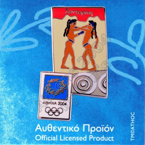 03-031-001 Young Boxers Santorini Ancient Mural Athens 2004 Olympic Pin
