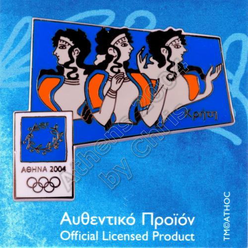03-031-003 Ladies in Blue Crete Ancient Mural Athens 2004 Olympic Pin