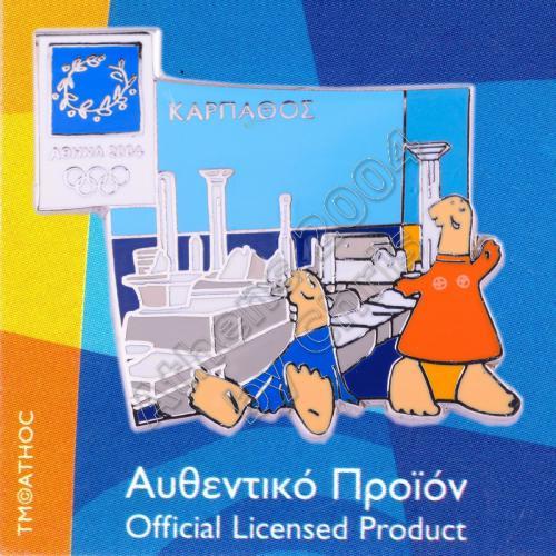03-059-012 Karpathos Temple Athens 2004 Olympic Mascot Pin