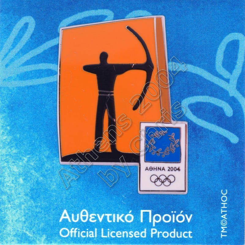 03-074-001 Archery sport Athens 2004 olympic pictogram pin