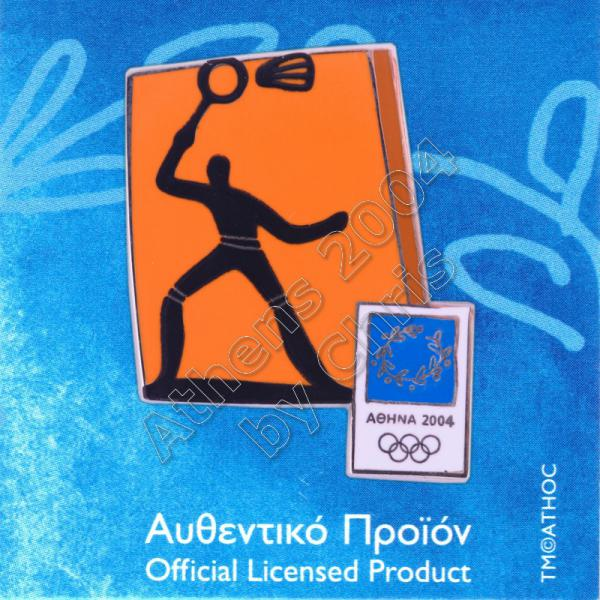 03-074-003 Badminton sport Athens 2004 olympic pictogram pin