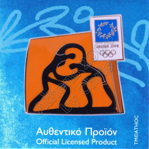 03-074-035 Wrestling sport Athens 2004 olympic pictogram pin