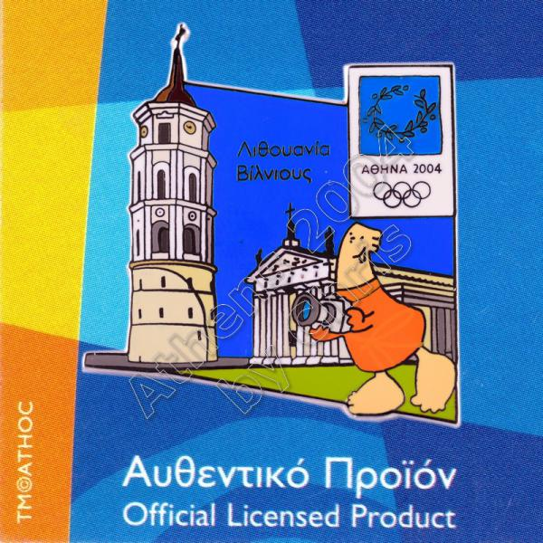 04-128-001 Vilnius Lithuania Cathedral Square Athens 2004 Olympic Pin