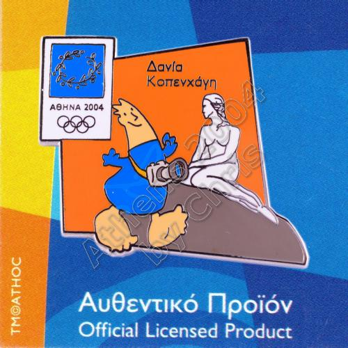 04-128-009 Copenhagen Denmark Little Mermaid Athens 2004 Olympic Pin