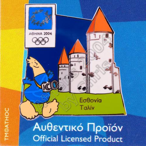 04-128-016 Tallinn Estonia Old Town Towers Athens 2004 Olympic Pin