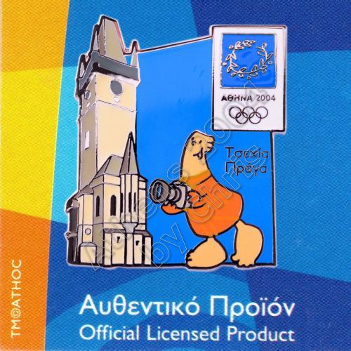 04-128-024 Prague Czech Republic Astronomical Clock Athens 2004 Olympic Pin