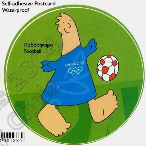 Football Mascot Self Adhesive Postcard Athens 2004 Olympic Games