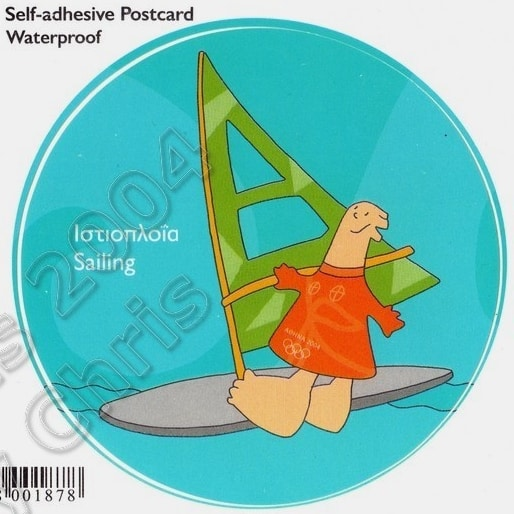 Sailing Self Adhesive Postcard Athens 2004 Olympic Games