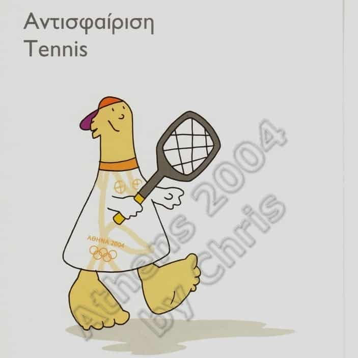 Tennis Olympic Sports Self Adhesive Postcard Athens 2004