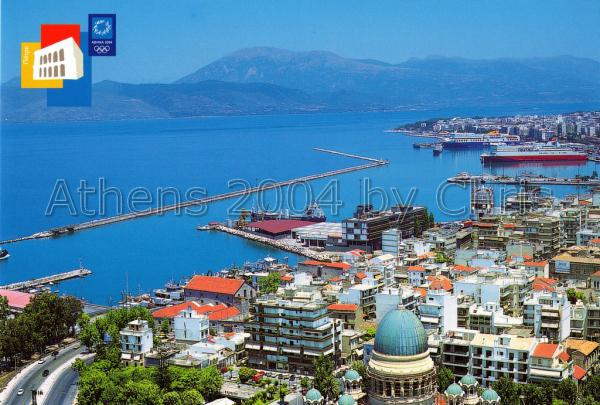 Patras town and Saint Andreas Church postcard series J