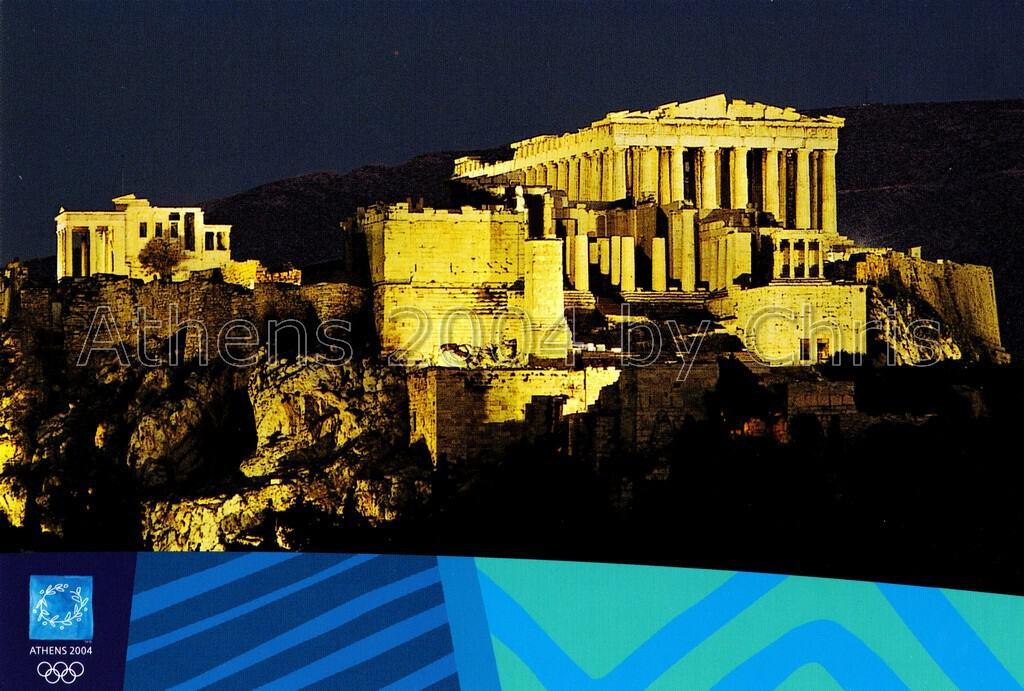 The Acropolis by night postcard series G